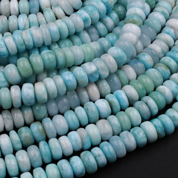 "Natural Blue Larimar Beads Smooth 6mm 7mm 8mm 9mm 10mm Rondelle High Quality Real Genuine Larimar Gemstone 16"" Strand"