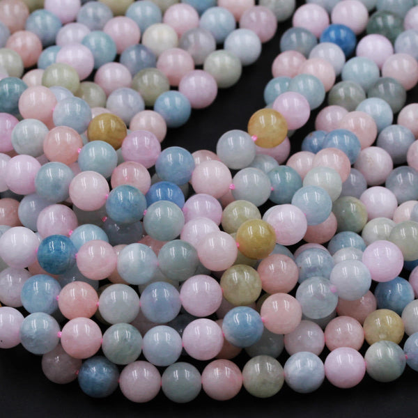 "Multicolor Blue Pink Aquamarine Round Beads 6mm 8mm 10mm 12mm Beryl Morganite Gemstone 16"" Strand"
