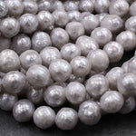 "Faceted Genuine Freshwater Silver Pearl 10mm Round Shimmery Iridescent Beads 16"" Strand"
