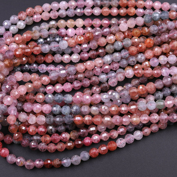 "Real Genuine Natural Spinel Faceted Round Beads 4mm 6mm Multicolor Red Pink Blue Peach Blue Green Teal Purple Gemstone 16"" Strand"