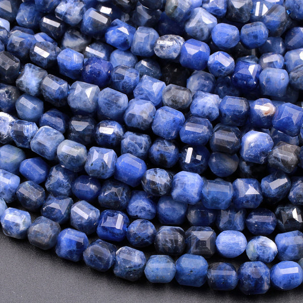 "Faceted Natural Blue Sodalite 6mm Cube Square Beads 16"" Strand"