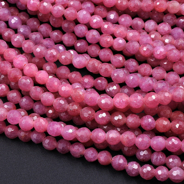 "Real Genuine Faceted Natural Ruby Round Beads 4mm 5mm Gemstone 16"" Strand"