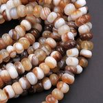 Natural Brown Tibetan Agate Beads 8mm Rondelle Amazing Veins Bands Eyes Strand
