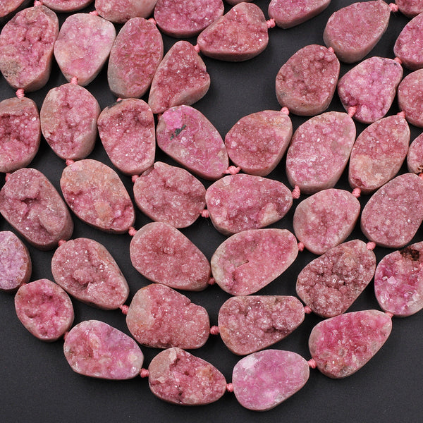 "Natural Pink Cobalto Calcite Druzy Beads Freeform Oval Teardrop Nuggets 16"" Strand"