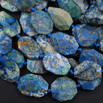 "Azurite Beads Octagon Shape Faceted Rectangle Nuggets Rare Energy Stone Genuine Real 100% Natural Blue Lightening Azurite Beads 16"" Strand"