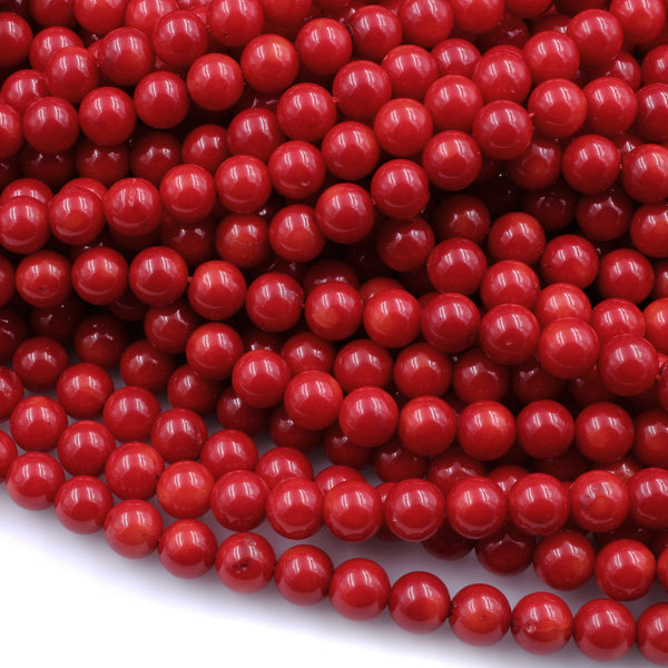 "AAA Genuine Red Bamboo Coral Smooth Round Beads 2mm 3mm 4mm 5mm 6mm 7mm 8mm 16"" Strand"