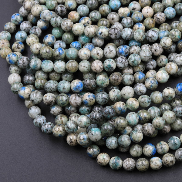 "Genuine Natural K2 Smooth Round Beads 6mm 8mm 10mm Blue Azurite in Quartz Granite from Pakistan Afghanistan 16"" Strand"