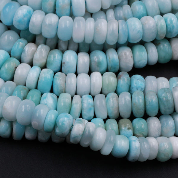 "Natural Blue Larimar Beads Smooth 6mm 8mm Rondelle High Quality Real Genuine Larimar Gemstone 16"" Strand"