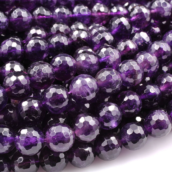 "Deep Purple Amethyst Faceted 6mm 8mm Round Beads Genuine Real Amethyst Gemstone Beads 16"" Strand"
