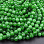 "Natural Maw Sit Sit Jade Smooth Round Beads 6mm 8mm 10mm 12mm Mawsitsit From Burma 16"" Strand"
