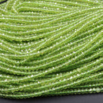 "Stunning Natural Green Peridot 4mm Faceted Rondelle Beads Micro Laser Diamond Cut Real Genuine Peridot Gemstone 16"" Strand"