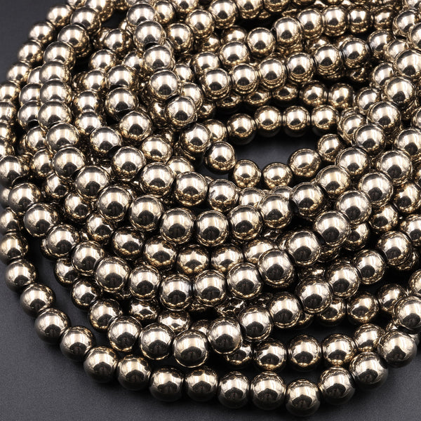 "Large Hole Beads Titanium Pyrite Smooth Round 8mm 10mm Beads 2.5mm Large Drilled Hole 15.5"" Strand"
