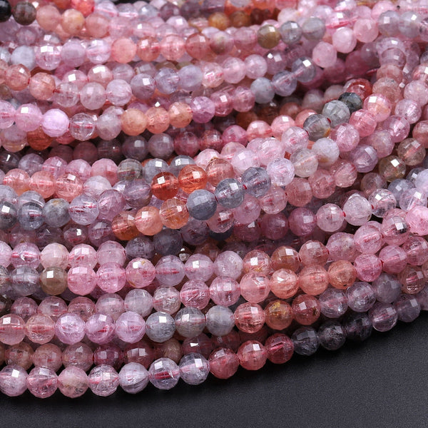 "Real Genuine Natural Spinel Faceted Round Beads 3mm 4mm Multicolor Red Pink Blue Peach Blue Green Teal Purple Gemstone 16"" Strand"