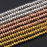 "Natural Hematite Thin Faceted Rondelle Beads Electroplated Bright Silver Rose Gold 4mm 6mm 8mm 16"" Strand"