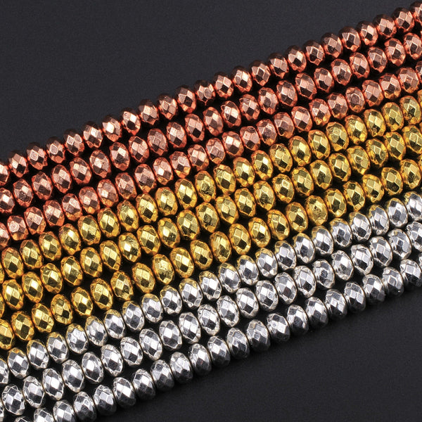 "Natural Hematit Faceted Rondelle Beads Electroplated Bright Silver Rose Gold 3mm 4mm 6mm 16"" Strand"