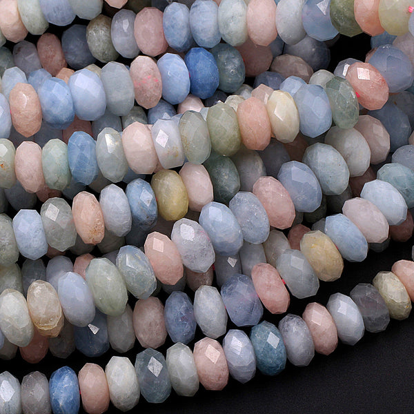 "Multicolor Pink Blue Green Aquamarine Morganite Beryl faceted Rondelle Beads 10mm 16"" Strand"