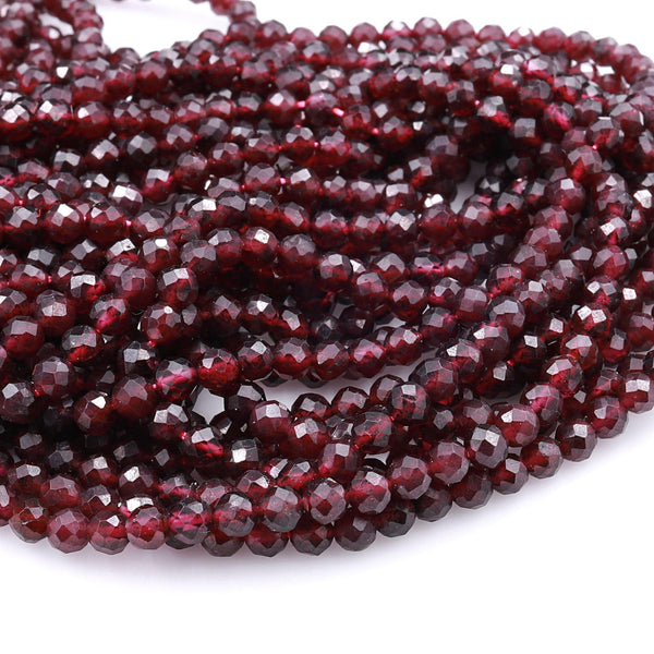 "Natural Red Garnet Faceted 4mm Round Beads Gemstone 16"" Strand"