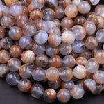 "Natural Blue Chalcedony W/ Golden Brown Matrix 10mm Round Beads 16"" Strand"
