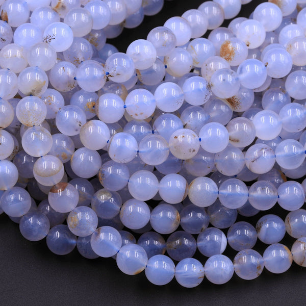 "Natural Blue Chalcedony W/ Golden Matrix 8mm Round Beads 16"" Strand"
