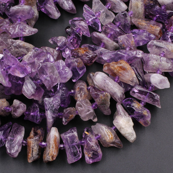 "Natural Amethyst Beads Center Drilled Freeform Spear Point Rough Raw Organic Purple Amethyst Crystal Gemstone 16"" Strand"