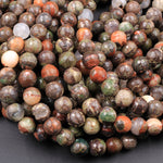 "Faceted Mushroom Jasper Rhyolite Beads 4mm 6mm 8mm 10mm 12mm 16"" Strand"