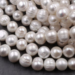 "Huge Jumbo Genuine White Freshwater Pearl 12mm Off Round Pearl Shimmery Iridescent Classic White Pearl 16"" Strand"