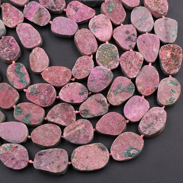 "Natural Pink Cobalto Calcite Druzy Beads Green Malachite Crystal 16"" Strand"