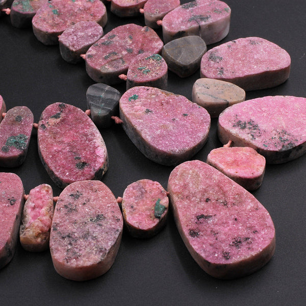 "Natural Pink Cobalto Calcite Druzy Beads Green Malachite Crystal Side Drilled Teardrop Pendant 16"" Strand"