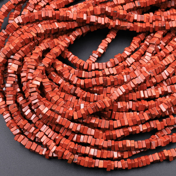 "Natural Red Jasper Square Heishi 4mm Beads 16"" Strand"