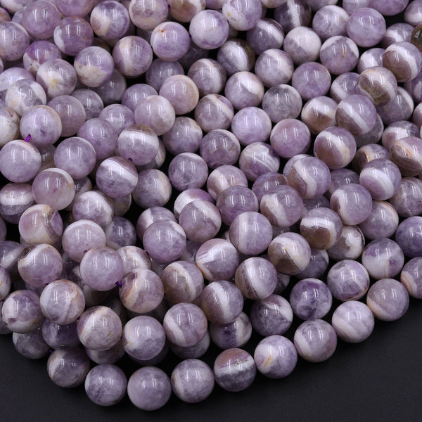 "Natural Purple Chevron Amethyst 6mm 8mm 10mm 12mm Round Beads Striking Eye Catching White Stripes 16"" Strand"