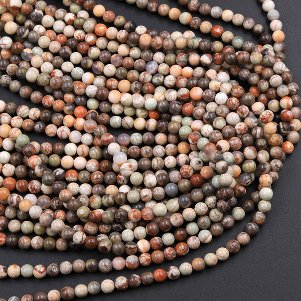 "Natural Mushroom Jasper Rhyolite Round Beads 4mm 6mm 8mm 10mm 12mm 16"" Strand"