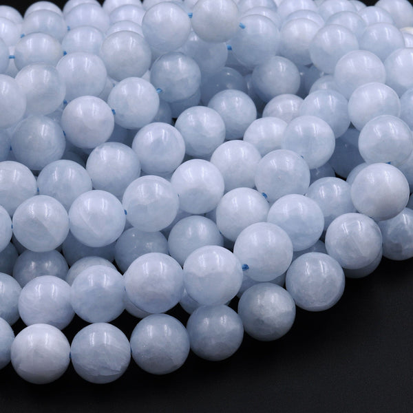 "Natural Blue Celestite Smooth Round Beads 6mm 8mm 10mm 12mm 16"" Strand"