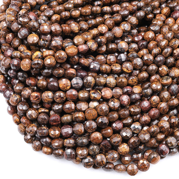 "Faceted 6mm Bronzite Coin Beads Dazzling Facets Natural Gemstone 16"" Strand"