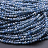 "Natural Burma Blue Sapphire Faceted 4mm 6mm Round Beads 16"" Strand"