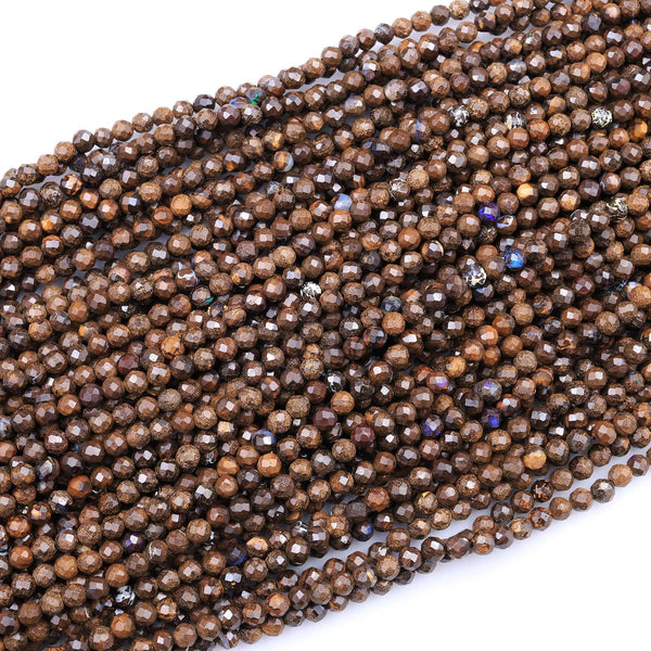 "Natural Australian Boulder Opal Faceted 3mm 4mm Round Beads 16"" Strand"