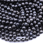 "AAA Natural Arfvedsonite Smooth Round Beads 6mm 8mm 10mm 16"" Strand"