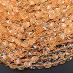 "AAA Natural Citrine Faceted Oval Beads 8x6mm 10x8mm 16"" Strand"