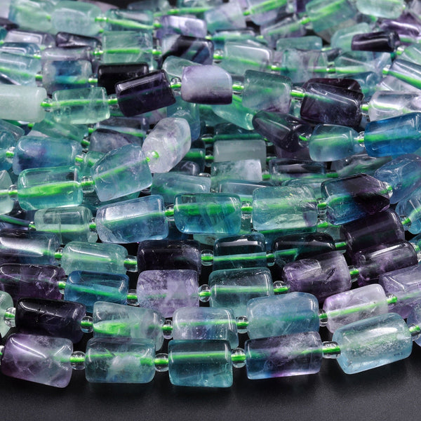 "Natural Fluorite Tube Beads Polished Purple Green Blue Gemstone 16"" Strand"