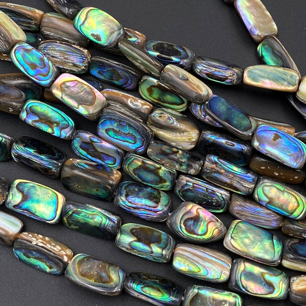 "Natural Abalone Tube Beads Iridescent Rainbow Glow Blue Green Red Pink Flash 16"" Strand"