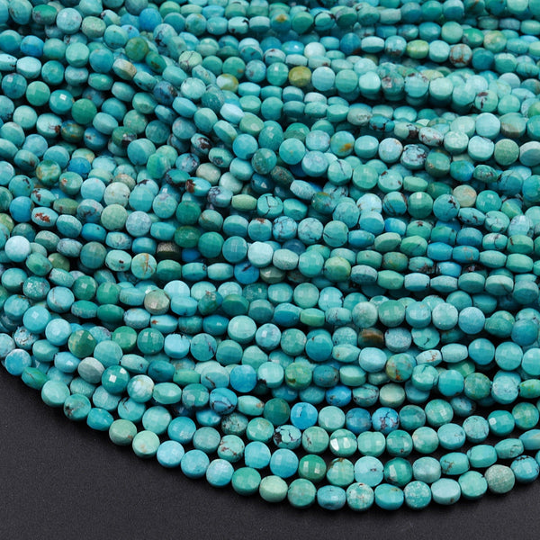 "Natural Turquoise Faceted 4mm Coin Beads Real Genuine Natural Blue Green Turquoise Micro Faceted Laser Diamond Cut 16"" Strand"