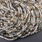 "Micro Faceted Natural Green Phantom Quartz Round Beads 4mm 16"" Strand"