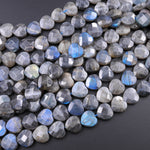 "Faceted Labradorite Heart Beads 12mm 14mm Natural Dark Labradorite Brilliant Blue Flashes 16"" Strand"