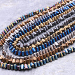 "Matte Hematite 4mm Triangle Beads Silver Gold Blue Bronze Copper Blue Rainbow Gunmetal Black Colors 16"" Strand"