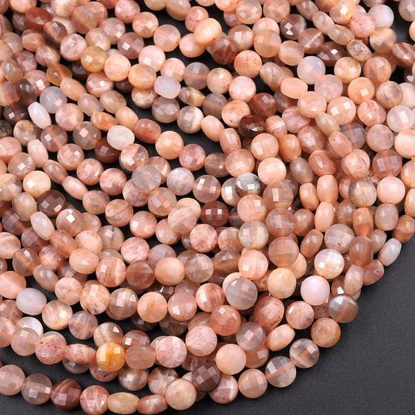 "Faceted Peach Moonstone 6mm Coin Beads Flat Disc Dazzling Facets Natural Gemstone 16"" Strand"
