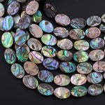 "Natural Abalone 14x10mm Flat Oval Beads Iridescent Rainbow Glow Blue Green Red Pink 16"" Strand"