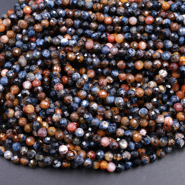 "Genuine African Pietersite Faceted 2mm 3mm 4mm Round Beads Natural Brown Gold Blue Gemstone from Namibia South Africa 15.5"" Strand"