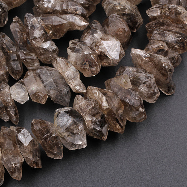 "Large Graduated Natural Smoky Brown Herkimer Diamond Quartz Beads Double Pointed Quartz With Black Anthraxolite Inclusion 16"" Strand"