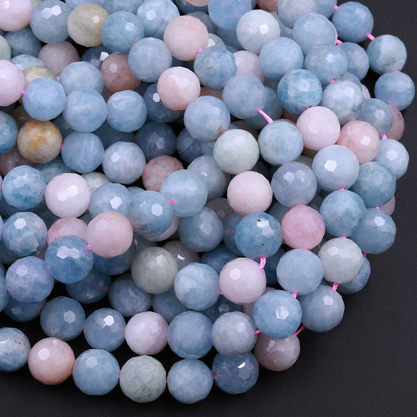 "Micro Faceted Natural Blue Aquamarine Pink Morganite Round Beads 6mm 8mm 10mm 12mm 16"" Strand"