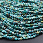 "Natural Turquoise Faceted 4mm Coin Beads Real Genuine Natural Blue Green Dragon Skin Turquoise Gemstone 16"" Strand"
