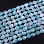 "AA Natural Blue Larimar Oval Beads 10mm 12mm High Quality Genuine Blue Larimar Gemstone Good For Earrings 15.5"" Strand"